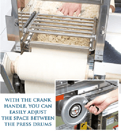 with the crank handle, you can easily adjust the space between the press drums